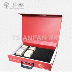 石材样品箱红色展示盒, 翻盖式石材样品盒, 石英石手提盒厂家XS004